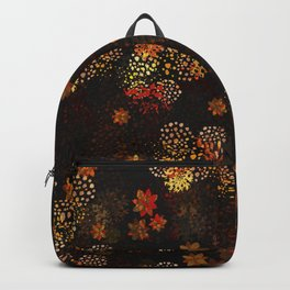Orange & brown floral pattern Backpack