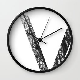 Minimal Letter V Print With Photography Background Wall Clock