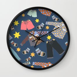 Childish clothes, fashion vector print Wall Clock