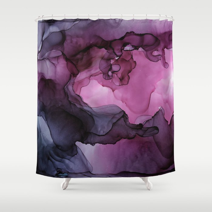 Abstract Ink Painting Ethereal Flowing Watercolor Nebula Shower Curtain