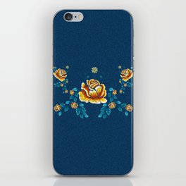 Yellow Embroidery Rose iPhone Skin