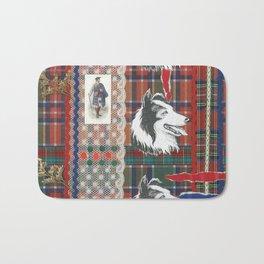 Scottish Collie, Lad, Lace & Tartan Plaid by Nettwork2Design - Nettie Heron-Middleton Bath Mat