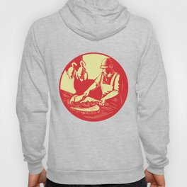 Chinese Cook Chop Meat Oval Circle Woodcut Hoody