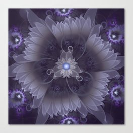 Amazing Fractal Triskelion Purple Passion Flower Canvas Print
