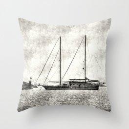 Vintage Schooner Throw Pillow