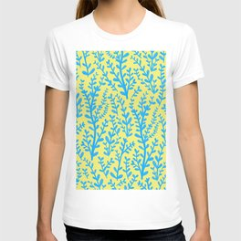 Yellow and Blue Floral Leaves Gouache Pattern T-shirt