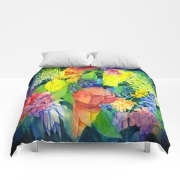 COTTAGE FLOWERS PAINTING Comforters