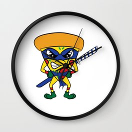 "Luscious and fierce ""Ninja Pizza"" tee design. Perfect gift for pizza lovers like you!  Wall Clock"