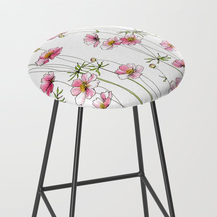 Pink Cosmos Flowers Bar Stool