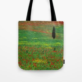 Tuscan landscape with poppies and cypress  Tote Bag