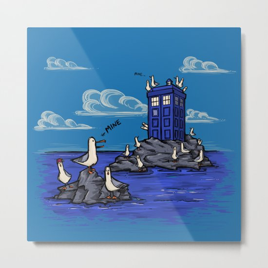 The Seagulls have the Phonebox Metal Print