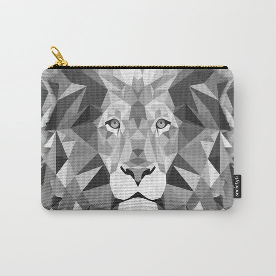 Large Silver Lion Head Carry-All Pouch