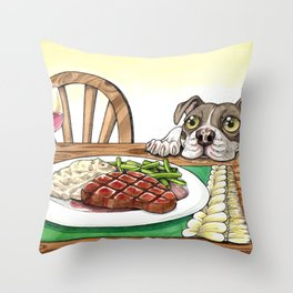 A Dog's Potential Steak Dinner Throw Pillow