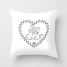 Cat Heart Paw | Gift idea Throw Pillow
