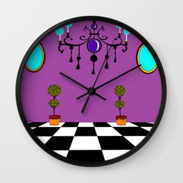 An Elegant Hall of Mirrors with Chandler and Topiary in Purples Wall Clock