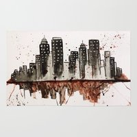 nyc Area & Throw Rugs featuring NYC by Rosalia Mendoza