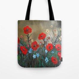 Impasto Red Poppy Love Garden Tote Bag