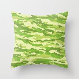 Green Kelp Camo Pattern Throw Pillow