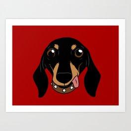 Say hi to the cute Dachshund your short-legged doggie friend Art Print