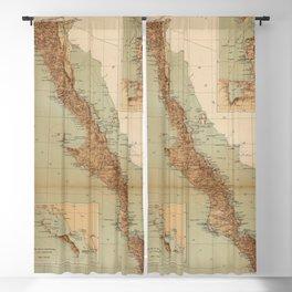 Vintage Map of Baja California (1922) Blackout Curtain