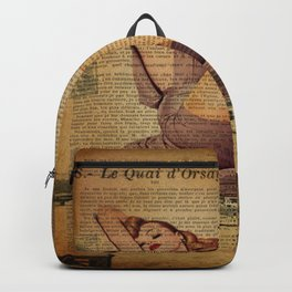 vintage newspaper print paris eiffel tower pin up girl Backpack