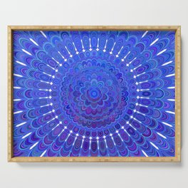 Blue Floral Mandala Serving Tray