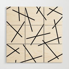 Black and white mikado stripes dash pattern Wood Wall Art