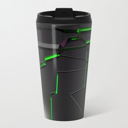 Black fractured surface with green glowing lines Travel Mug
