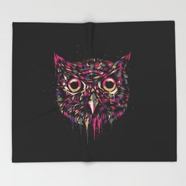 Colored Owl Throw Blanket