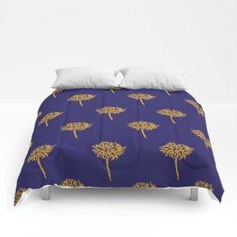 Navy dandelion Comforters