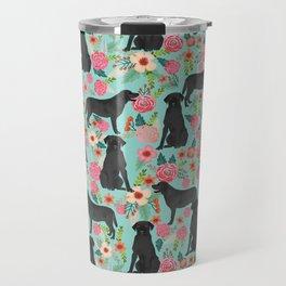 Labrador Retriever black lab floral dog breed gifts pet patterns florals black labs Travel Mug