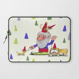 A gnome, two dogs, and a cat Laptop Sleeve