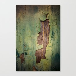 Old piece of wood painted green and peeling Canvas Print