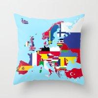europe Throw Pillows featuring Europe flags by SebinLondon