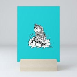 a cute little mermaid on a rock Mini Art Print
