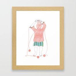 Knitster Girl Turtleneck Framed Art Print