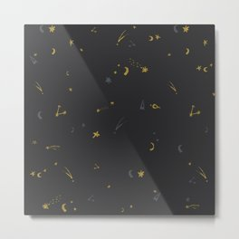 cosmic pattern. gold and silver stars Metal Print