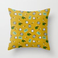 hiking Throw Pillows featuring Hiking Pattern by DAW Surface Design