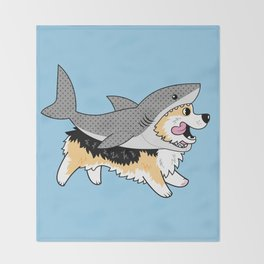 Another Corgi in a Shark Suit Throw Blanket