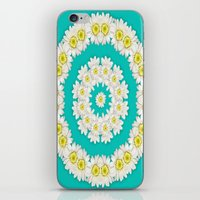 coasters iPhone & iPod Skins featuring White Daisies on Turquoise Background by Lena Photo Art