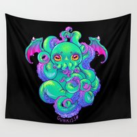 cthulhu Wall Tapestries featuring Cthulhu by Gunkiss