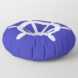 Ship Wheel (White & Navy Blue) Floor Pillow