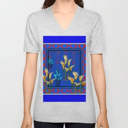 Blue Art White Calla Lilies Red Patterns Unisex V-Neck