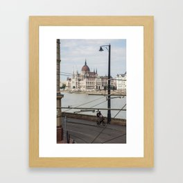 Bicycle in front of the Hungarian Parliament Framed Art Print