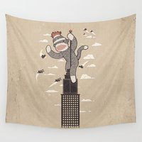 planes Wall Tapestries featuring Sock Monkey by Ronan Lynam
