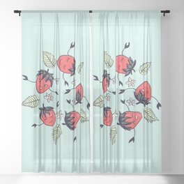 Happy strawberry characters Sheer Curtain