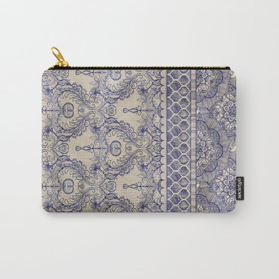 Vintage Wallpaper - hand drawn patterns in navy blue & cream Carry-All Pouch