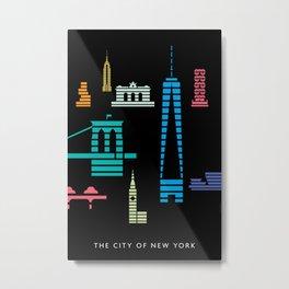 New York Skyline One WTC Poster Black Metal Print