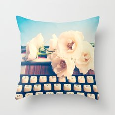 Typewriter and roses  Throw Pillow