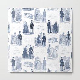 Biedermeier Blue Romance Metal Print